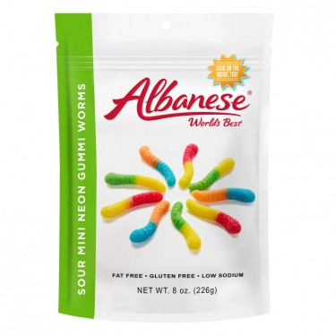 Albanese Sour Neon Mini Worms - 6ct